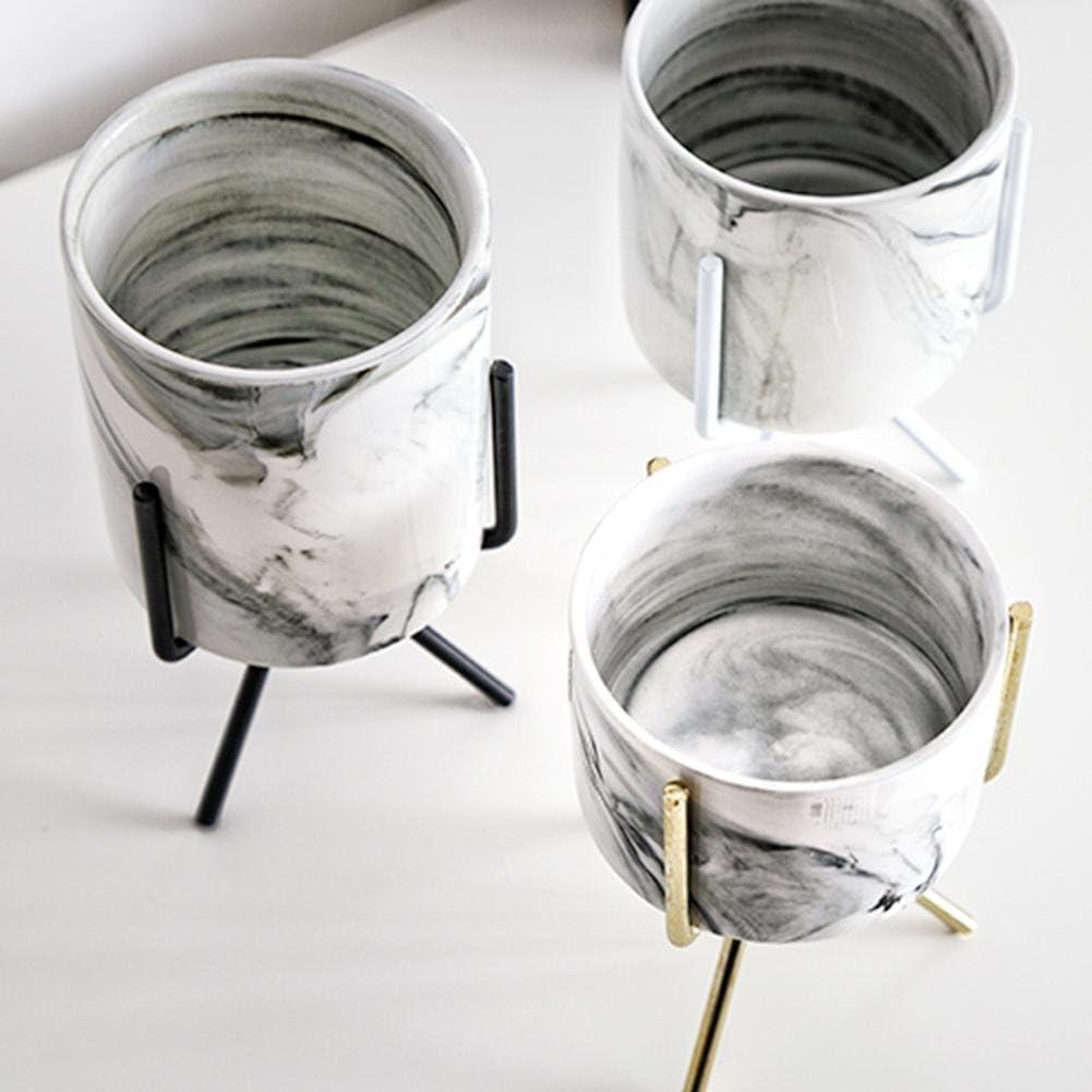 Pot de Fleur en C/éramique Avec Support de Fer Starter Fleur de Marbre Charnue Pot de Fleurs en C/éramique Support de Vase /À Plantes Succulentes Pour la D/écoration de Patio de Jardin de la Maison.
