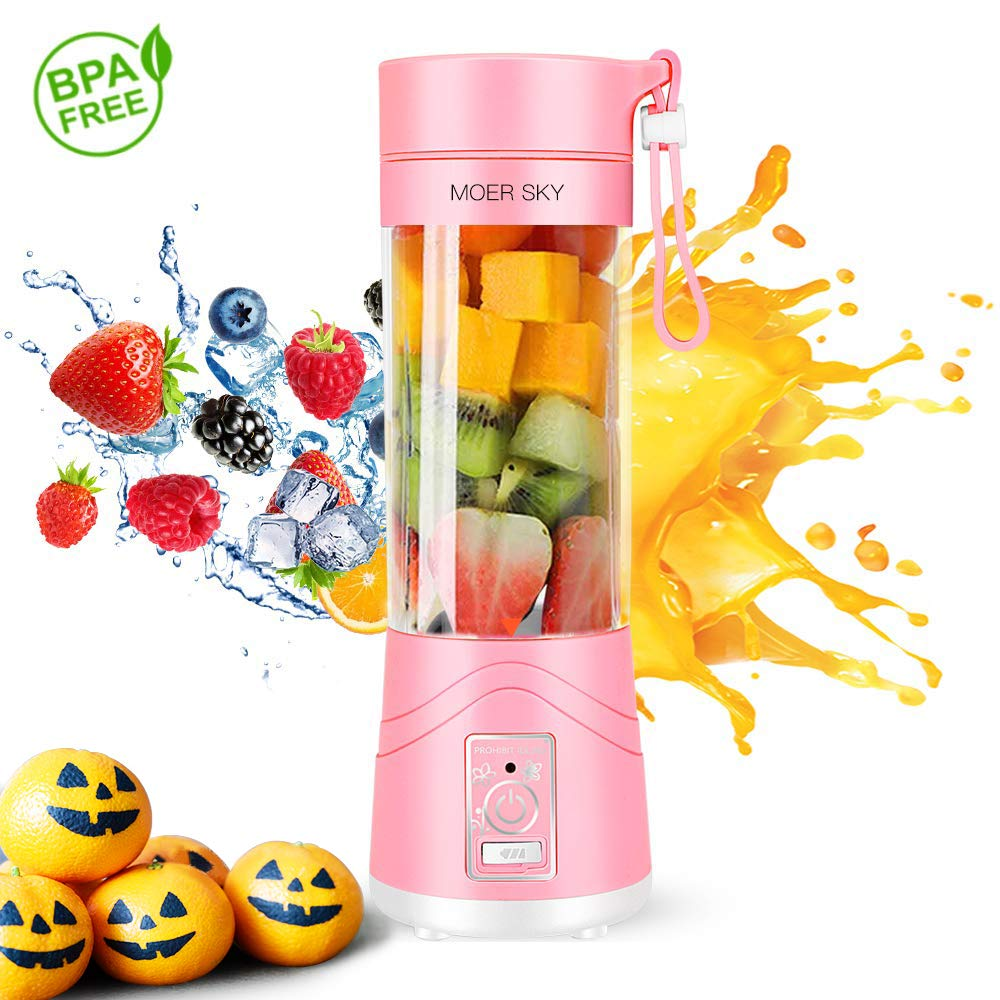Portable Juicer Blender, Household Fruit Mixer - Six Blades in 3D, 380ml Fruit Mixing Machine with USB Charger Cable for Superb Mixing, USB Juicer Cup by Moer Sky (B), Large by Moer Sky