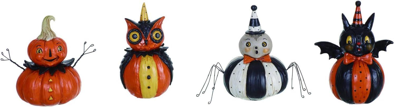 One Holiday Way Set of 4 Vintage Halloween Pumpkin Character Figurines – Tabletop Halloween Decoration