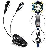 AFUNTA Dual Head lettura LED di funzionamento della lampada Letto con Cavo USB, flessibile, con Braccio Lungo Regolabile Dimmerabile Clip Portatile