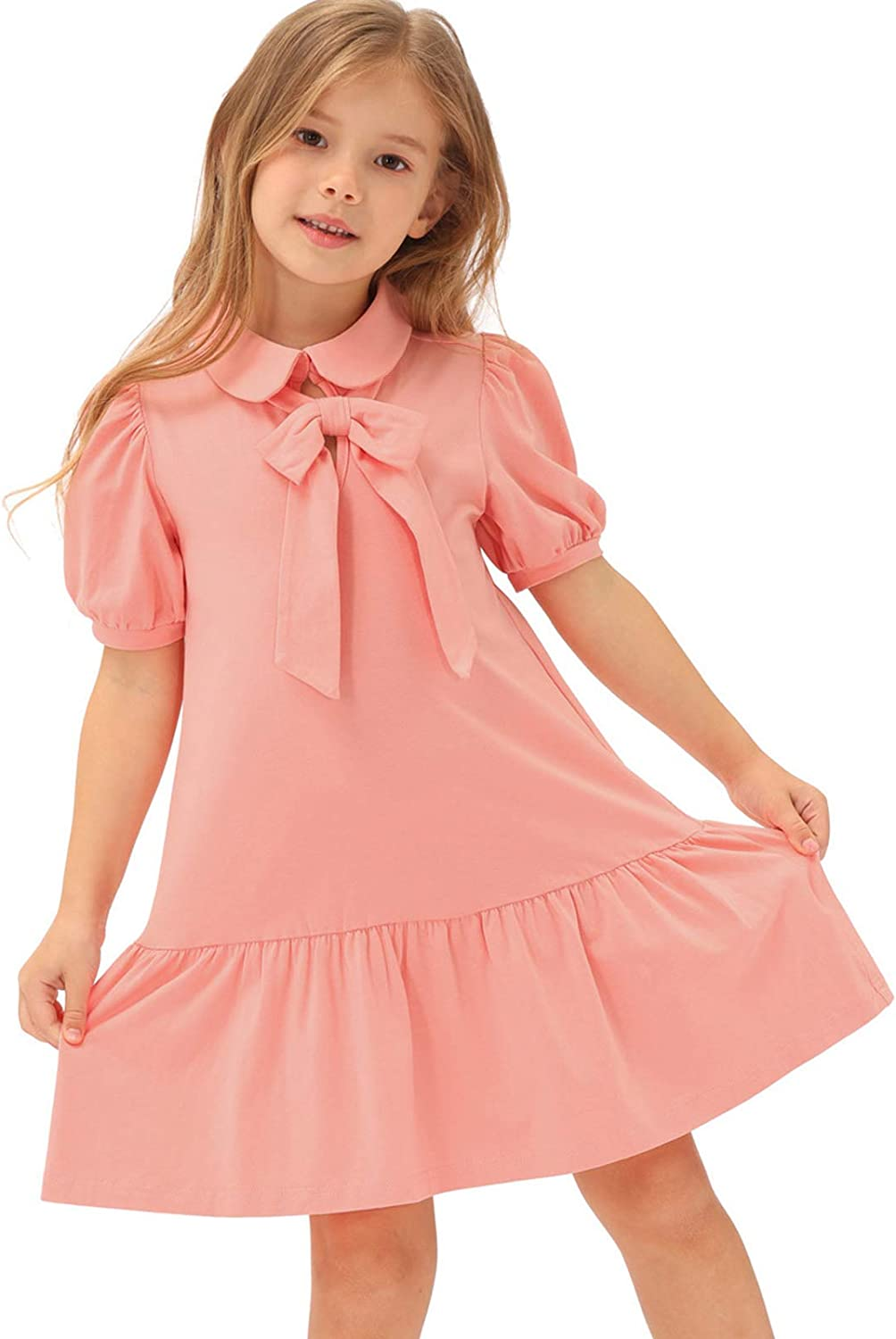 Vintage Style Children's Clothing: Girls, Boys, Baby, Toddler Belle Poque Girls Cotton Dress with Bow and Collar Tiered School Uniforms Dress $19.99 AT vintagedancer.com