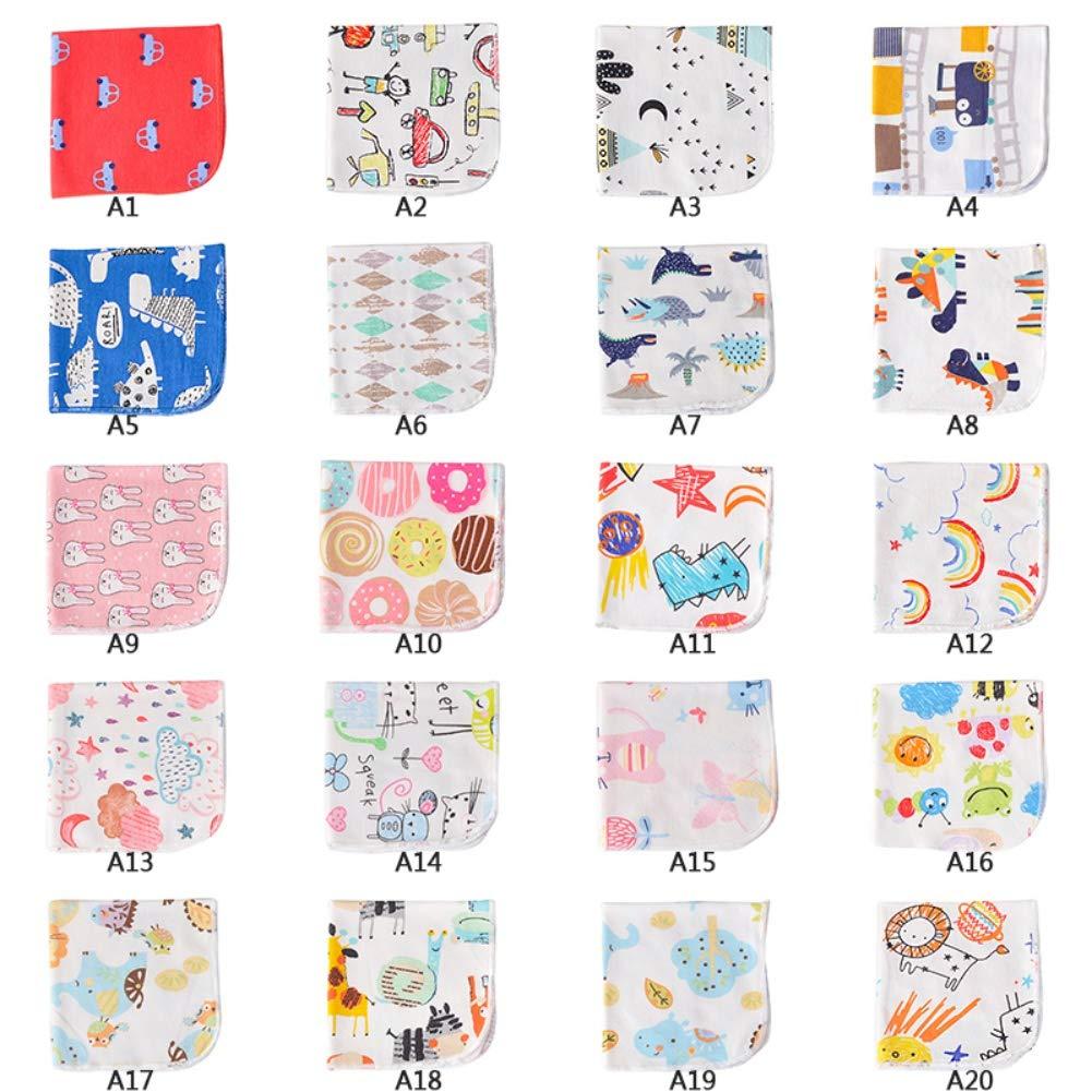 Parfait Cadeau Naissance Miyanuby Pack de 4 Pi/èces Pur Coton Carr/é Tissu//Bavoir b/éb/é//Essuie main//Burp Cloths 25cm*25 cm