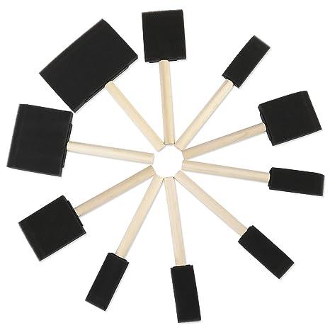 ROSENICE Pincel de espuma herramienta de pintura esponja con mangos de madera paquete de 10