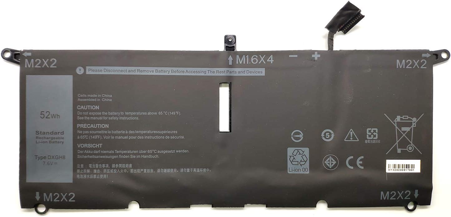Binger New DXGH8 Replacement Laptop Battery Compatible with Dell XPS 13 9370 2018 13-9370-7002SLV XPS 13-9370-D1605G XPS 13 9380 2019 Series Notebook P82G001 0H754V H754V P82G-(7.6V 52Wh)