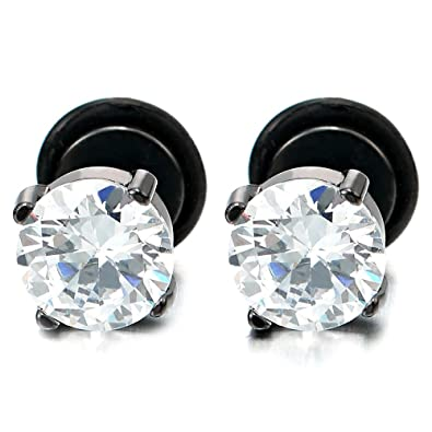 e89ad198a 5MM Mens Women Black Stud Earrings with White Cubic Zirconia Stainless  Steel Screw Back, 1