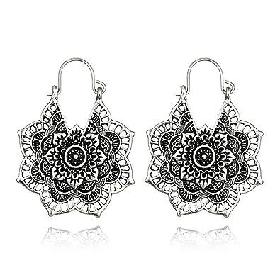Amazon.com: Bracet Vintage Gypsy - Pendientes de aro para ...