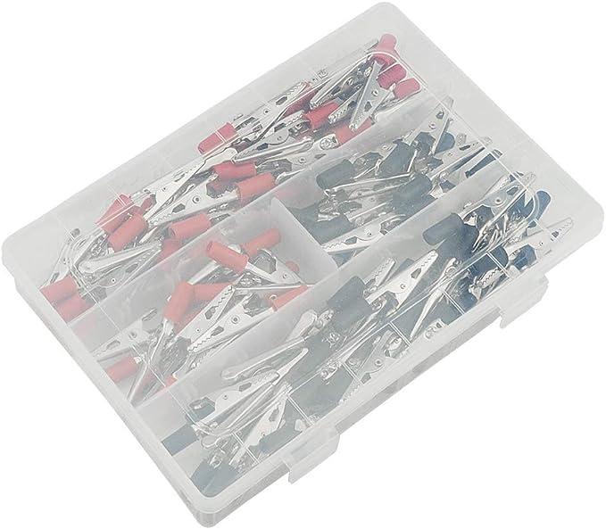 WMYCONGCONG color rojo y negro Juego de 100 pinzas de cocodrilo el/éctricas con manecillas de pl/ástico
