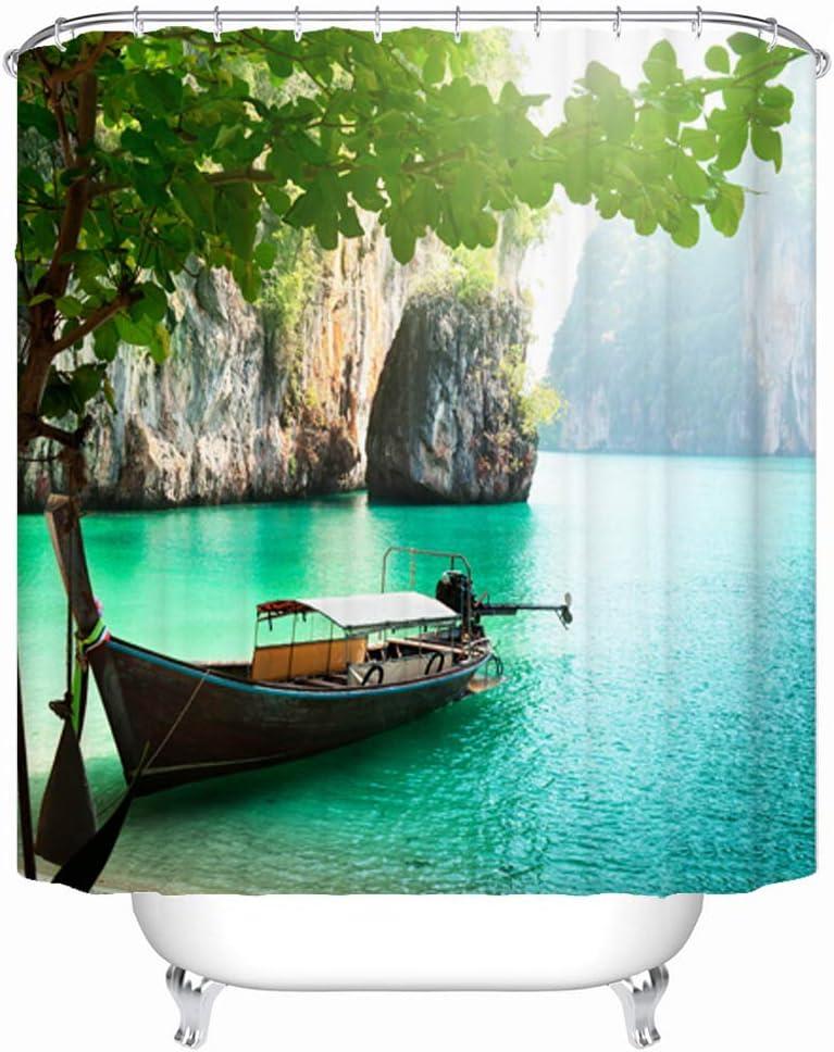 Verde 180x180cm ENCOFT Barca Tenda Doccia con 12 Ganci in Poliestere Impermeabile Antimuffa Tende per Vasca da Bagno