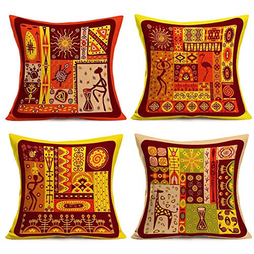 - Throw Pillow Covers African Tribe Ethnic Series Cotton Linen Patchwork Style with Cultural Ancient Motifs Print Decorative Cushion Cases Outdoor Pillowcases Home Decor 18