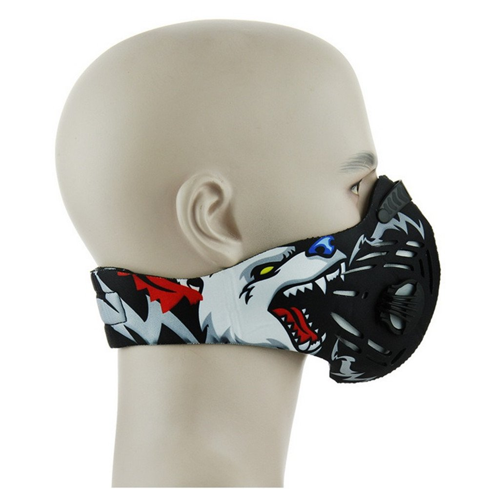 Rungear Dustproof Mask, Dust Mask Activated Carbon Filtration Exhaust Gas Anti Pollen Allergy PM2.5 Workout Running Motorcycle Cycling Half Face Mask (Grey Bear)