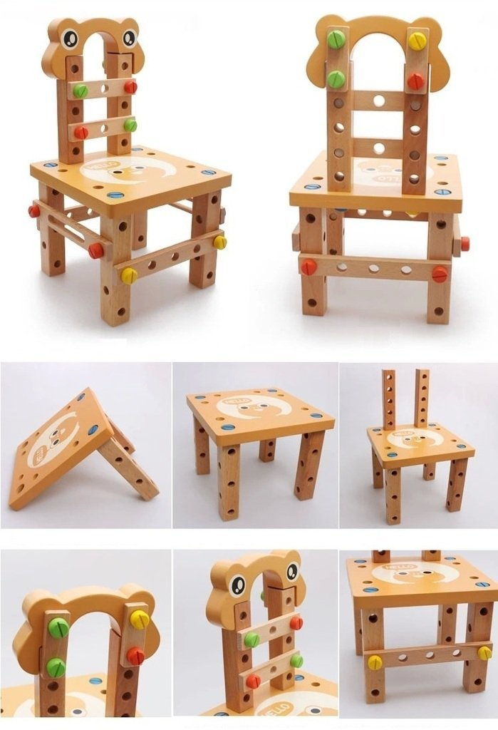 Vidatoy DIY Screw Block Activity Working Chair Construction Sets 52 Lovely Pieces Wooden Toys
