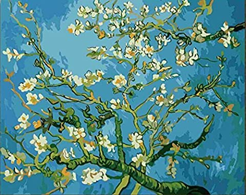[Wooden Framed] Diy Oil Painting, Paint By Number Kit- Worldwide Famous Oil Painting Apricot Blossom By Van Gogh 16*20 (Acrylic Paint Van Gogh)