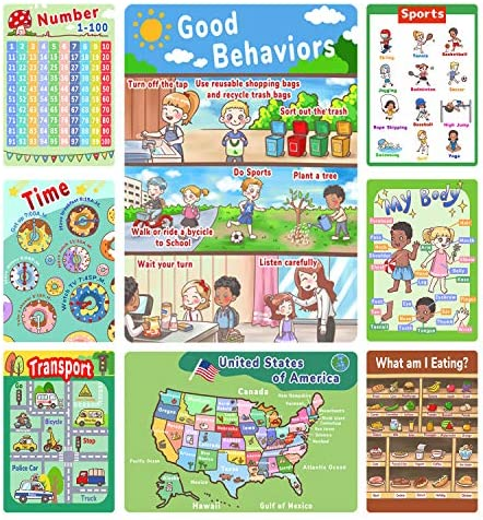 Number Chart 1-100 for Kids, Times Table Chart, 8 Pack Preschool Learning Posters for Pre K, Educational Charts & Posters for Preschoolers Kindergarten Home Classroom Decor Supplies -16 x 11 Inch