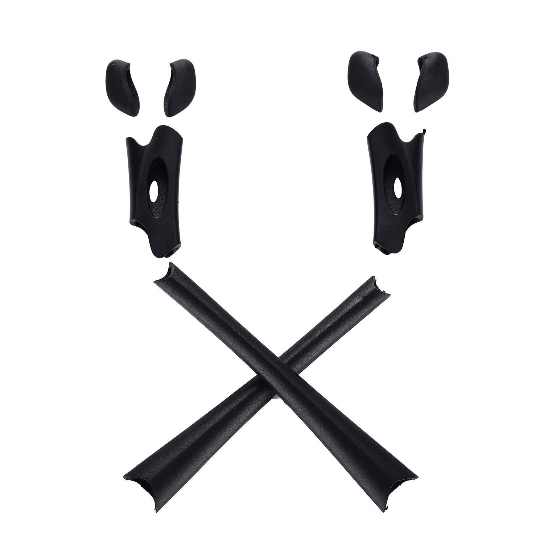 Replacement Kit of Ear Socks n Nose Pads for Oakley Flak Jacket XLJ Sunglass Glass Frames (Satin Black)