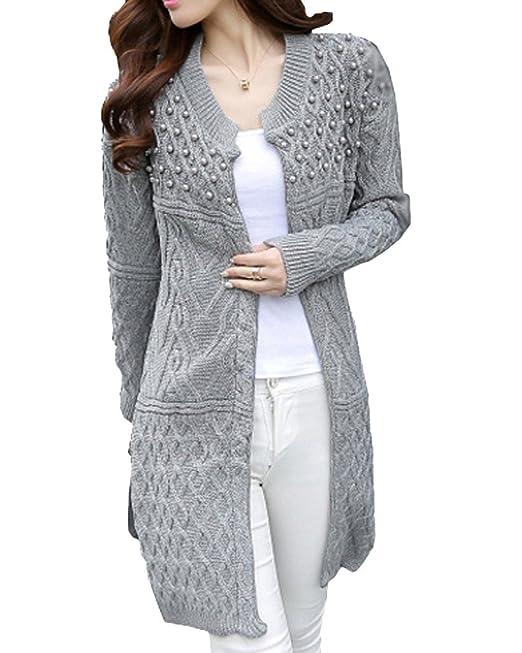 Minetom Mujer Largas Cárdigans Chaquetas de Punto Ponchos Suéter Abrigos Ropa de Calle con Grano de la Perla: Amazon.es: Ropa y accesorios