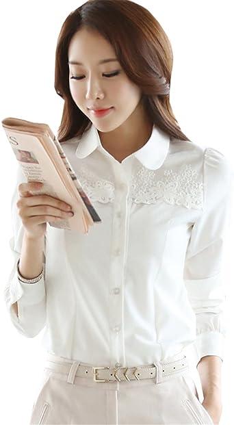 COCO clothing Camisa Mujer Manga Larga Blanco Camisas Talla Grande Cuello Mao Color Puro Encaje Blusas Primavera Verano Moda (l): Amazon.es: Ropa y accesorios