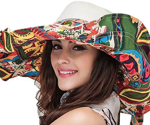 Cuca Dunna Women Outdoor Wide Brim Beach Sun Hat Anti-UV UPF 50+ Double-sided Woman Cap (Ribbon Sun Hat)