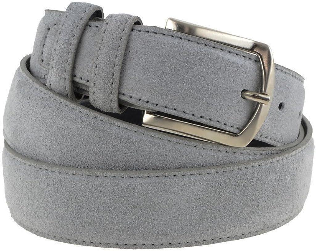 Cintura in pelle uomo donna scamosciata classica grigio chiaro artigianale