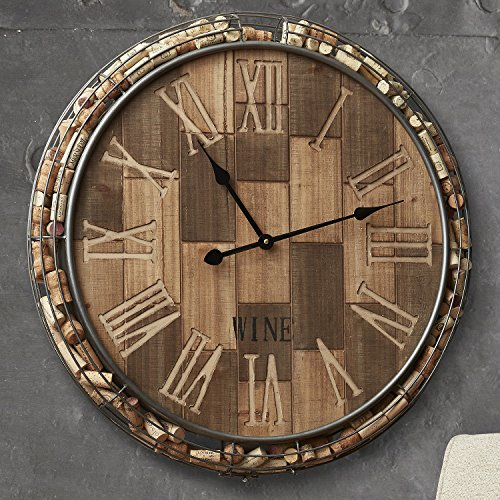 Wine Enthusiast Decorative Cork Catcher Wall Clock - Holds 100 Corks (Wine Clock)
