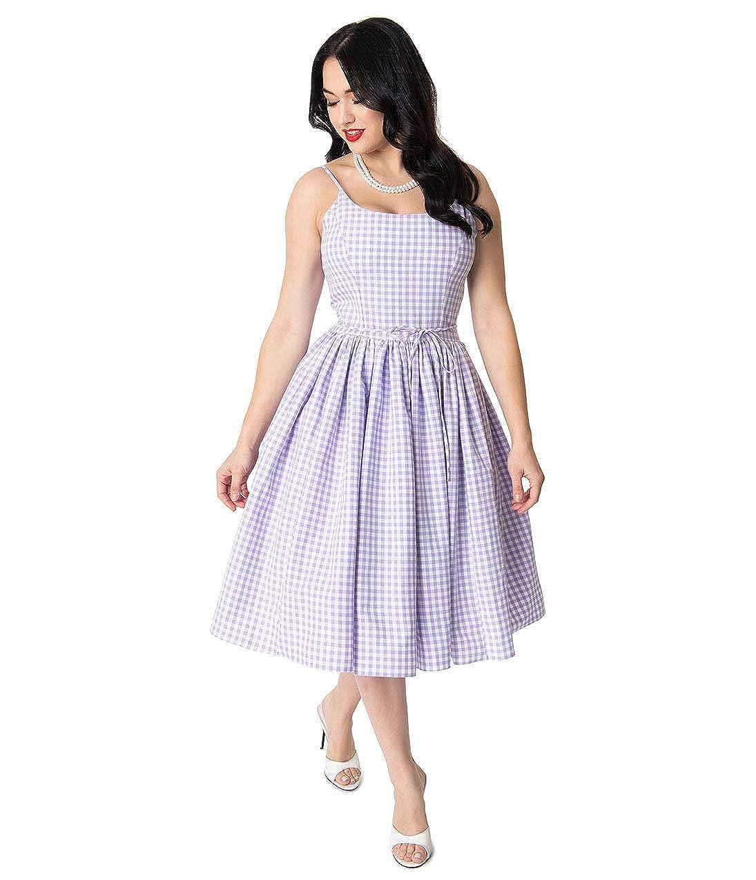 43eee2b3654e9 Bernie Dexter 1950s Lavender & White Gingham Kaelyn Swing Dress at Amazon  Women's Clothing store: