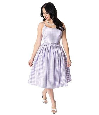 e1439e79529e0 Image Unavailable. Image not available for. Color: Bernie Dexter 1950s  Lavender & White Gingham Kaelyn Swing Dress