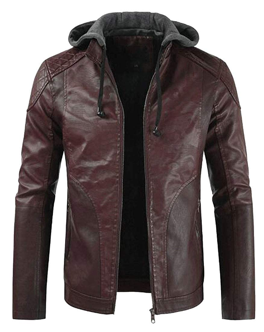 Suncolor8 Mens Hooded Faux Leather Winter Camo Fleece Lined Quilted Jacket Coat Outerwear