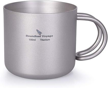 Outdoor Camping Titanium Water Cup Portable Picnic Double Wall Coffee Tea Mug