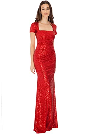 Blossoms Long Square Neck Cap Sleeve Sequin Evening Dress 12 Red