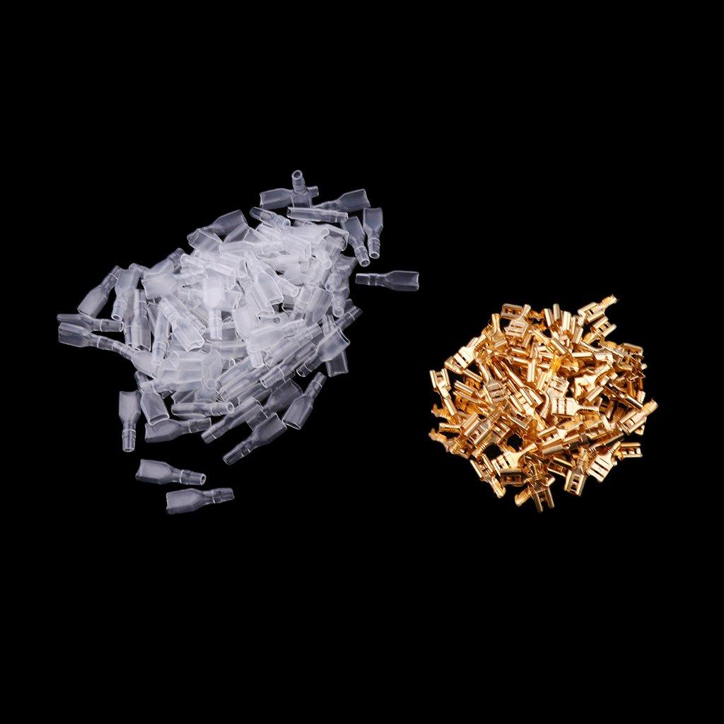 H HILABEE 100 X 6,3 Mm Crimpanschluss Flachstecker Isolierh/ülse AWG22 16