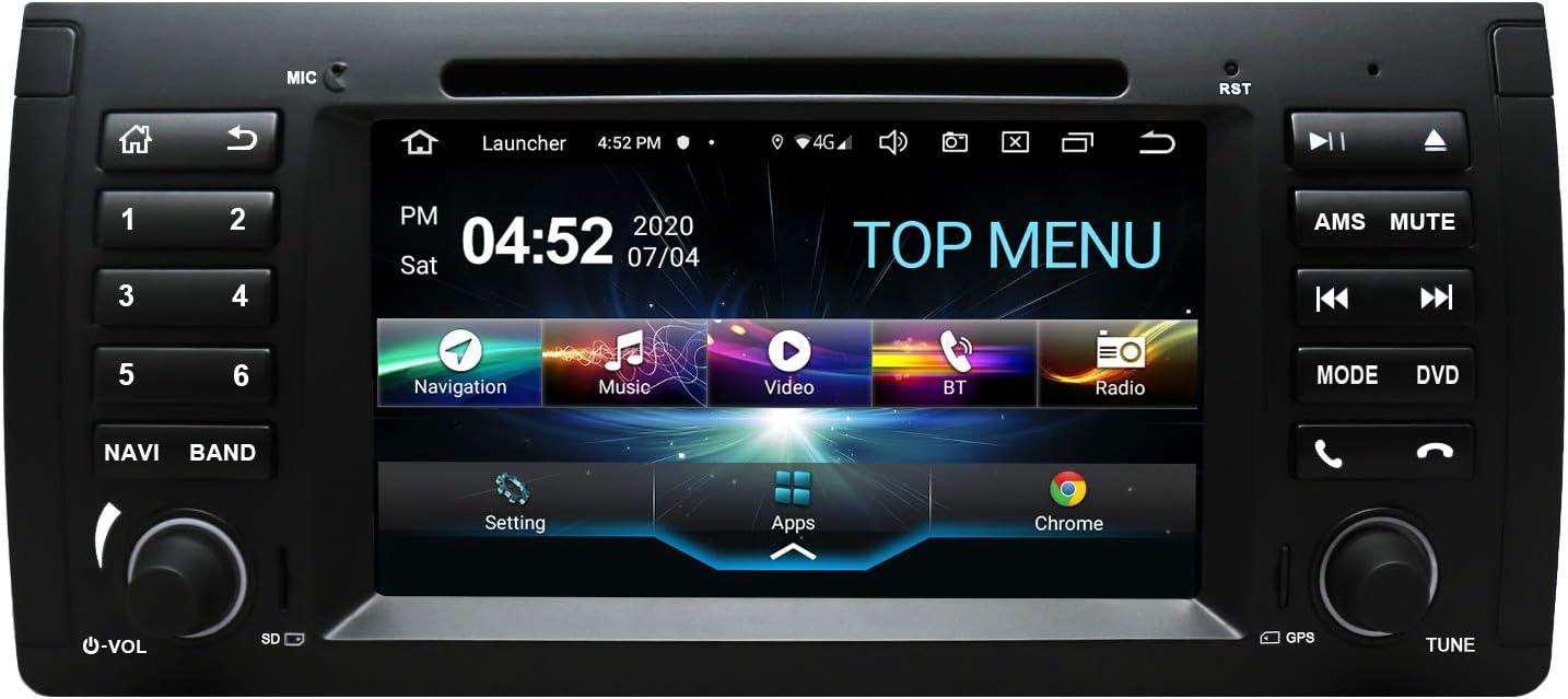 SWTNVIN Android 10.0 Coche Audio Cabezal estéreo se Adapta para BMW E39 5Serias E53 X5 7Serias M5 Reproductor de DVD Radio 7 Pulgadas HD Pantalla ...