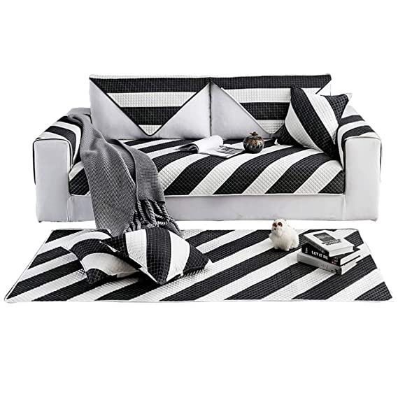 Amazon.com: YHviking Stripes Sofa Cover,Nordic Cotton Couch ...