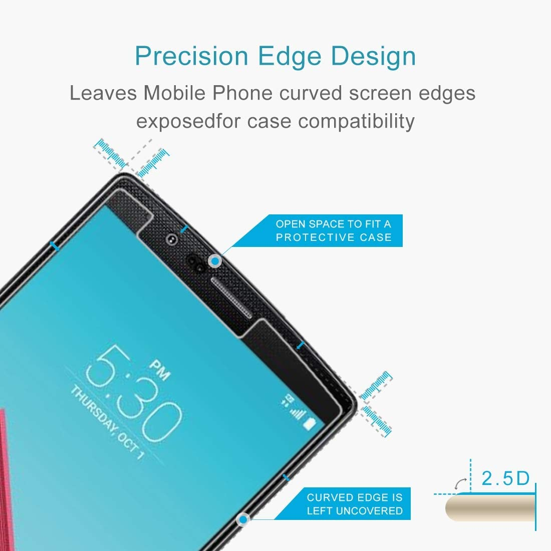 LGYD for 50 PCS 0.26mm 9H 2.5D Tempered Glass Film for LG G4