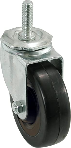 1//2-Inch Stem Diameter Shepherd Hardware 9024 5-Inch Soft Rubber Swivel Stem Caster 225-lb Load Capacity