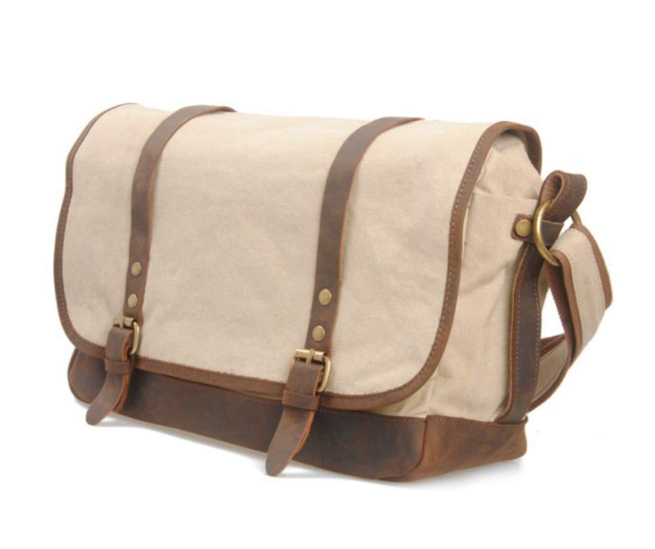 Color : Creamy-White Khaki KRPENRIO Simple Retro Zipper Waterproof Canvas Briefcase Shoulder Bag Messenger Bag Color