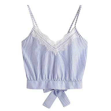 TOTOD Women Casual Lace Patchwork Striped Sleeveless V-Neck Crop Top Vest Tank Shirt Blouse