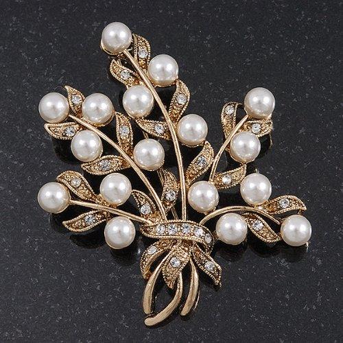 Broche florale cristal transparent, fausse perle blanche en plaqué or
