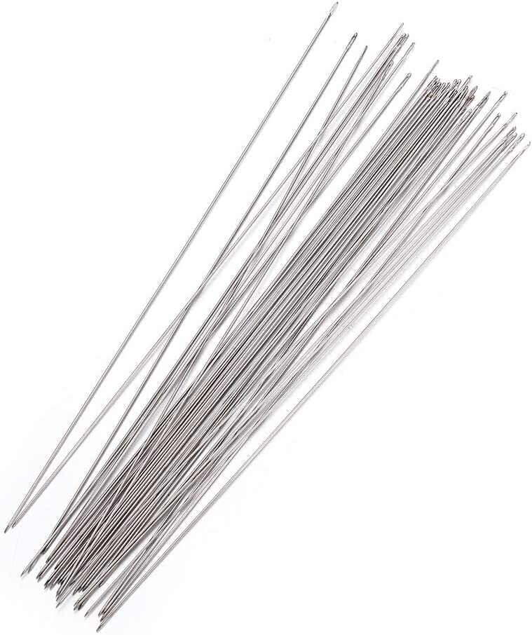 Craftdady 170Pcs Steel Beading Needles 3.93 Inch Long Straight Sewing Embroidery Threads for Braided Bracelet Necklace Jewelry Making Thickness 0.45mm