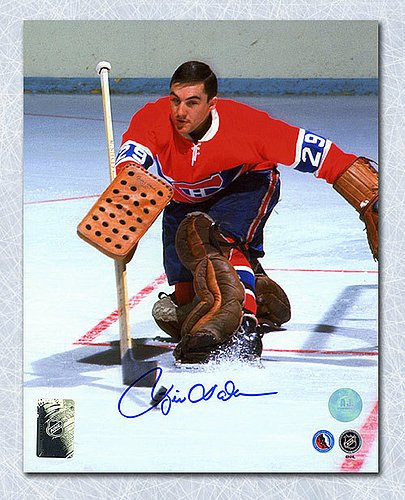 Rogie Vachon Montreal Canadiens Signed Stick Save 8x10 Photo - Autographed Hockey Photos (Autographed Hockey Stick Merchandise)