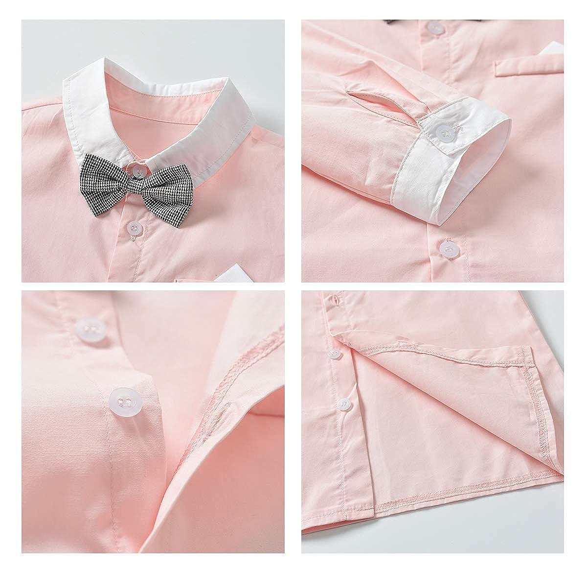 Civil Boy Clothes Set with Bow Tie Shirt and Suspender Straps Pants