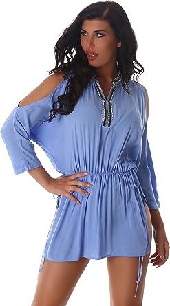 4b3ef0f7d19208 Voyelles Damen Shirt Bluse Top Minikleid Kleid V-Ausschnitt Retro Hippie  Ärmel Kimono-Shirt