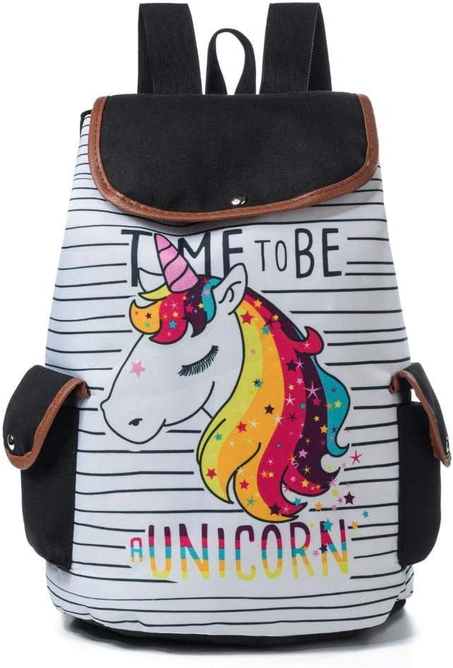 Mayanyan Cute Unicorn Design Backpack Drawstring Backpack Canvas Schoolbag Fashion Stripe Travel Backpack Lady
