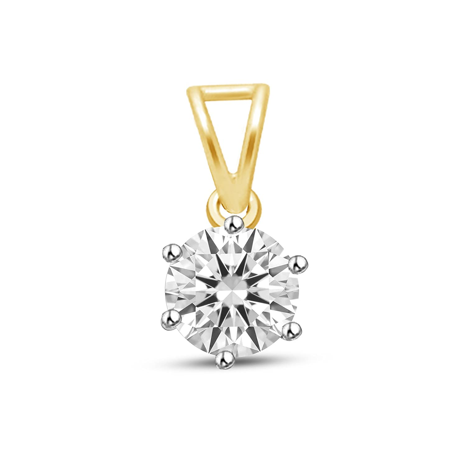 Round Yellow Gold Plated Cubic Zirconia .925 Sterling Silver Solitaire Pendant
