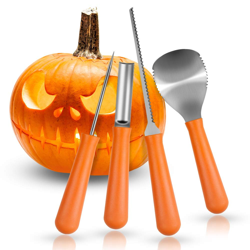 Halloween Pumpkin Carving Kit, Herwiss Stainless Steel Carving Tools Set with 10 Pumpkin Stencils DIY Halloween Jack-O-Lantern for Pumpkin Party Decorations (4 Pcs Ultimate Professional Tools) HPRISE CA HP6005