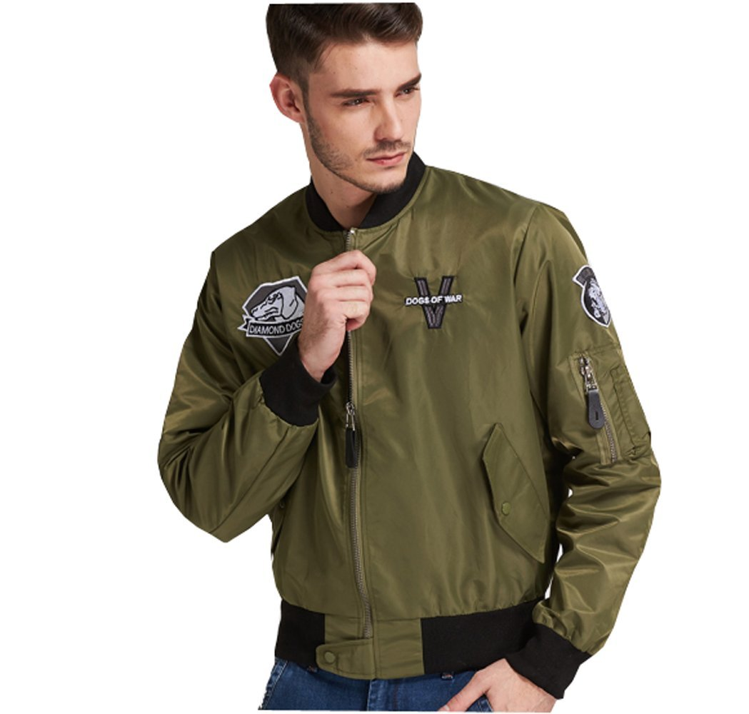 Elegant Men's Flight Bomber Jacket Stand Collar Regular Fit Casual Solid Outdoor Coats (Asian L=US S-Chest(44.9'')/Height(5'5''-5'7''))