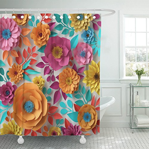 TOMPOP Shower Curtain 3D Render Digital Colorful Flowers Spring Summer Floral Bouquet Waterproof Polyester Fabric 72 x 72 Inches Set with Hooks