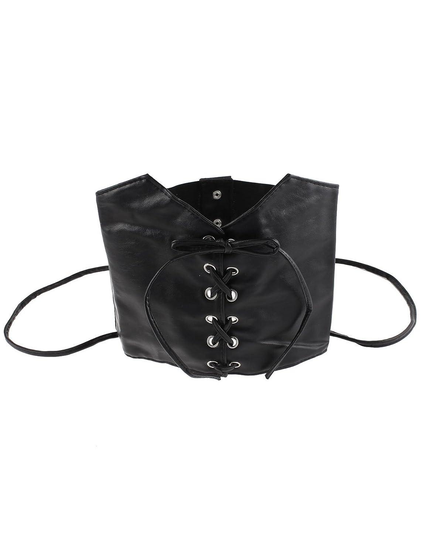 uxcell Press Button 2 Straps Elastic Corset Waist Cinch Belt Band 74cm Length