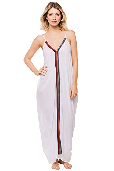 Elan Womens Maxi V Neck With Black Trim Dress At Amazon Womens