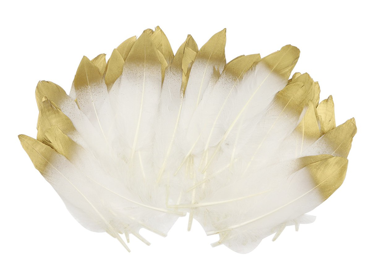 60 pcs Natural White Gold Sparkle Dipped Feather in Bulk for Wedding Craft Party Birthday Baby Shower Bridal Shower Decoration