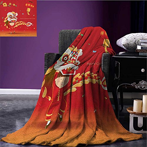 Chinese New Year wearable blanket Little Boy Performing Lion Dance with the Costume Flowering Branch Lantern security blanket Multicolor size:50''x60'' by Anniutwo