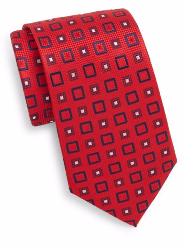 Yves St. Laurent Men's Square Print Silk Tie, OS, Red by Yves St. Laurent